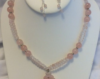 Rose Quartz, rhinestone ring with hand carved Rose Quartz pendant necklace & earrings set - Clearance