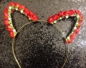 Red Floral Kitty Ears