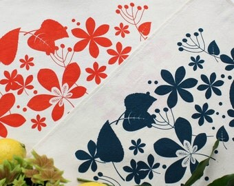 Cotton placemats Spring screen print blue or red-Set x 2-Modern rustic style placemats handprinted flowers and leaves onto unbleached cotton