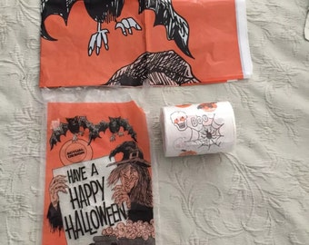 Vintage 70s Halloween Toilet Paper and Vinyl Plastic Table Cover Witch Skeletons Bats Great Vintage Items!!