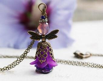 PLUM FAIRIE Victorian Heirloom Fairy Necklace, Flower Fairy Jewelry, Vintage inspired garden angel necklace gift