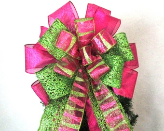 Christmas Bow, Red and Green Bow, Tree Topper Bow