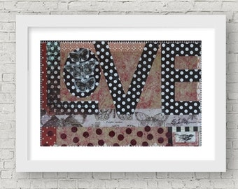 Love Art Print Mixed Media 5x7 Butterfly Black White Red Anniversary Wedding Polka Dot Home Decor