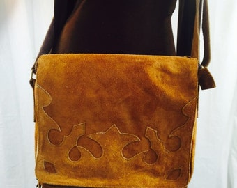 Large suede messenger bag