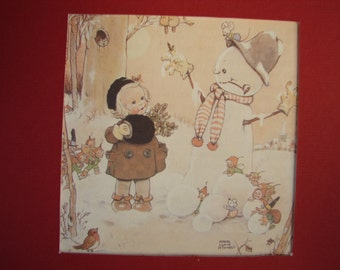 Vintage Mabel Lucie Attwell print, little girl, wonderful pixies, snowman, robin, winter scene