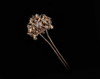 Vintage Indonesian Hair Pin, Openwork Filigree Goldtone, Clear Glass Stones, Traditional Sumatran Bridal Hairpin, Love Token, Gift for Her