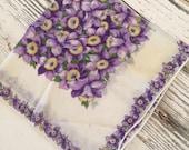 Vintage Hankie Handkerchief Purple Lavender Floral Design