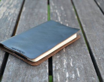 Horween leather black Moleskine notebook journal cover - Hand stitched