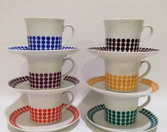 Vintage Polka Dot Thun Czech tea cup coffee cup set modern design