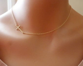 Gold Sideways Cross Necklace Gold filled side ways cross Matte Cross Necklace Sideways Cross Sideways cross Charm