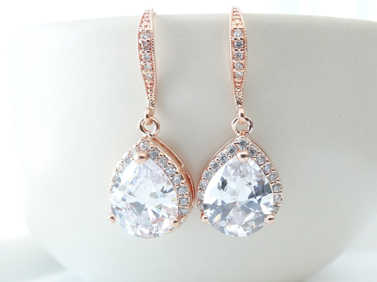 Bridal Earrings Rose Gold Cubic Zirconia Teardrop Bridal
