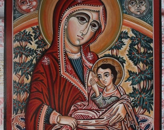 Mother of God breastfeeding The Child Jesus. Byzantine icon handmade painted Romanian icon It is available the icon shown in the photo.