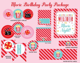 INSTANT DOWNLOAD - Movie Birthday Party Package, Movie Night Birthday, Movie Party Printables, Movie Night Printables,