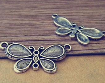 10pcs Antique Silver butterfly Charms pendant  19mmx41mm