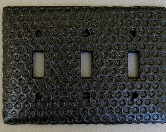 Black Glitter Impressed Dots Triple Toggle Switchplate Lightplate