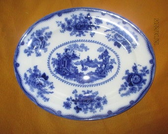 Vintage Pearl Pottery Co. Nankin Ironstone Flow Blue Platter