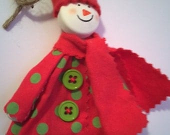 Personalized snowman Christmas tree ornament handmade fabric