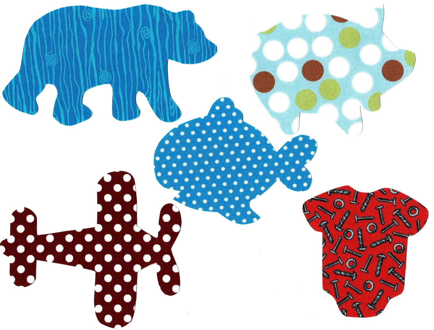 Iron on baby boy fabric appliques for baby shower diy for Baby themed fabric