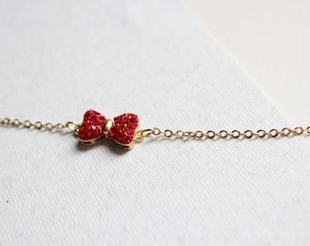 Red bow bracelet - minimalist bracelet- miniature bow bracelet - dainty delicate jewelry- charm bracelet with rhinestones