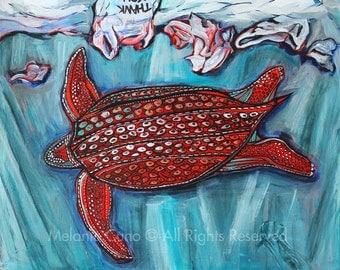 "Endangered Leatherback- giclee print 8""x10"""