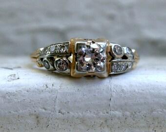 Sweet Art Deco Vintage 14K Yellow Gold Diamond Ring Engagement Ring - 0.55ct
