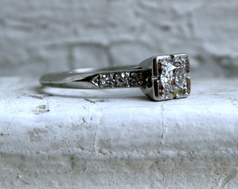 Classic Vintage Platinum Diamond Engagement Ring - 0.37ct.