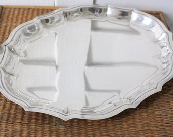 silver tray, International Silver tray, Chippendale tray, metal tray, oval tray, silver plate tray