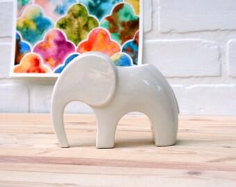 Elephant Planter - Indoor Planter, Handmade from Scratch. Tiny ceramic elephant, perfect for a succulent or houseplant! Handmade in Colorado