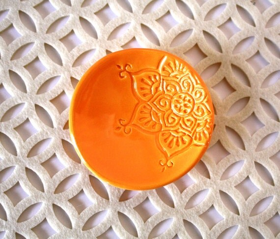 Light Orange Ring Holder - Handmade Amber Ring Dish with Boho Star Pattern . Great Gift for Teachers, Co-Workers, Girlfriends, Friends