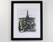 paris france arc de triomphe watercolor illustration art print | travel, wanderlust, barcelona, decoration, europe