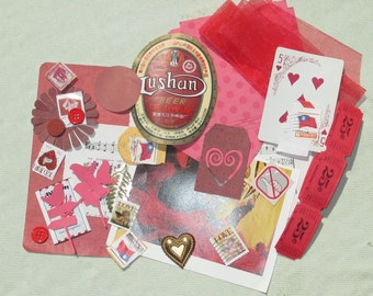Red Mixed Media Altered Art Inspiration Kit - 45 pcs - Found Objects - Vintage & Vintage Inspired
