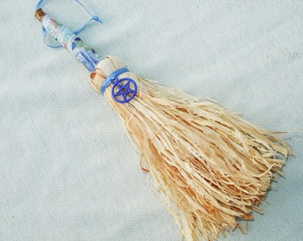 Mini Besom with Pentagram Ornament or Decoration with Kyanite