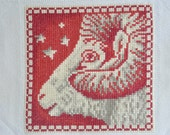 Finished / Completed Cross Stitch - Lanarte - Red Signs of the Zodiac: Aries (34972) crossstitch counted cross stitch