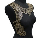 Black and Gold Crochet Lace Yoke Applique Sewing Collar