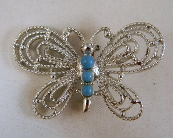 Vintage Butterfly Brooch / Butterfly Pin / Large Silver and Faux Turquoise Butterfly Brooch