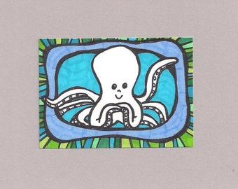 ACEO, Octopus Blues, Original Drawing, Art Trading Card, ATC, Trading Card