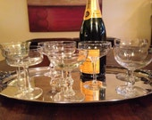 8 Vintage Champagne Coupe Glasses - Mixed Cocktail Set of Eight Party Glasses