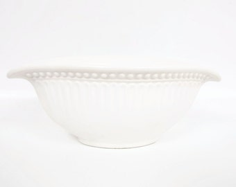 Vintage Amora Italian Bowl Made in Italy Serving Dish Vase Off White Embossed Ceramic