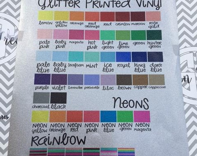 Featured listing image: Glitter (Sparkle) Decal Vinyl 12x12 sheet Custom printed in over 45 colors