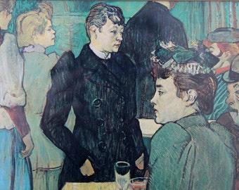 Vintage framed art print / Henri Toulouse-Lautrec / Corner of the Moulin de la Galette / French modernist art / Paris / urban Art Nouveau