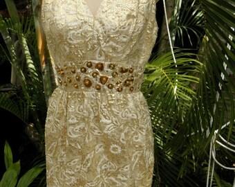 HUGE 60% OFF Stunning Vintage 1950's  Gold Brocade & Floral Cream Sleeveless Vintage Dress, Mad Men,  sz S