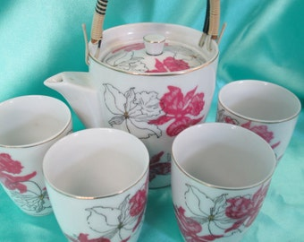 Vintage 6 pc set Japanese porcelain flowered teapot and 4 tea cups used no markings