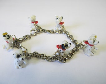Dalmation Puppy Charm Bracelet on silver tone chain  6 puppy charms