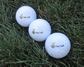 BEE THE BALL Golf Ball |  3 Screen Printed Golf Balls | Great Golfer Gift | Co-worker Gift | Stocking Stuffer | Fun Golf Balls | Be The Ball