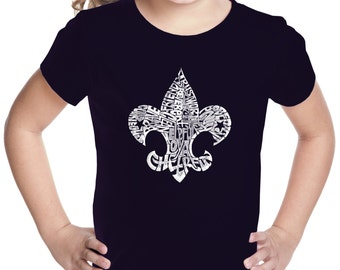 Girl's T-shirt - 12 Points of Scout Law Fleur De Lis Design Created out of the 12 Points of Scout Law