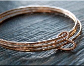 Set of 3 14k Rose Gold Filled Bangle Bracelet, Wrapped In Love, Floating Heart Bangle, Gold Stacking Bracelet, Rose Gold Filled Heart Bangle