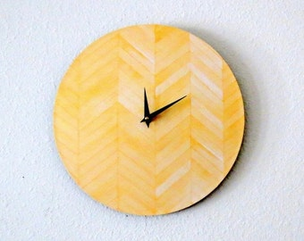 Unique Wall Clock, Decor and Housewares, Home and Living, Yellow Chevron, Home Decor, Christmas Gift Idea