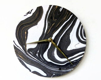 Modern Wall Clock, Black and Gold Marbled Paper, Home and LIving, Home Decor, Clocks