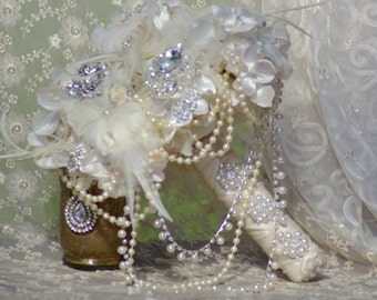 FULL PRICE Brooch Bouquet Cascade Feather Silk Ivory Champagne Cream