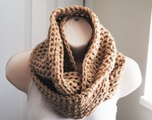 the chunky sand dune crochet infinity scarf lambswool blend